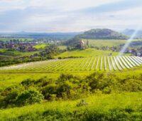 Auf einem Solarpark in Tschechien inmitten grüner Wiesen und mit einem alten Dorf und Kirche im Hintergrund strahlt die Sonne herab.